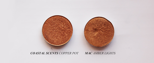 mac amber lights eyeshadow dupe swatch coastal scents copper pot comparison