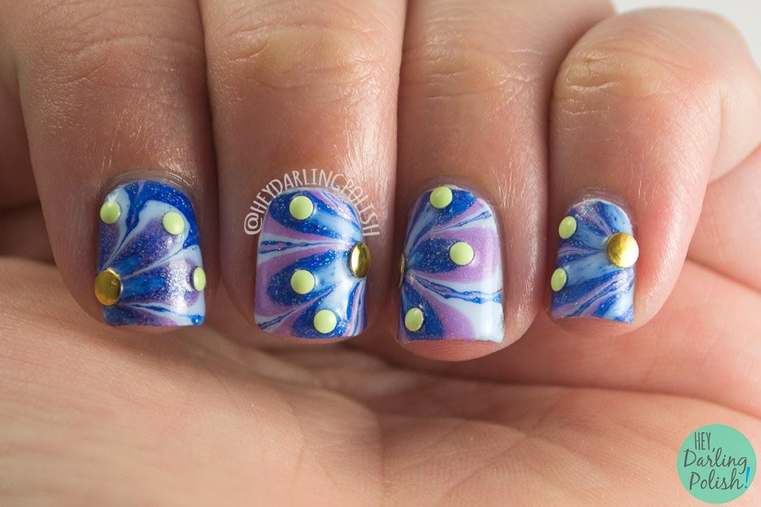 nails, nail art, nail polish, watermarble, nail studs, zoya, hey darling polish, oh mon dieu 2