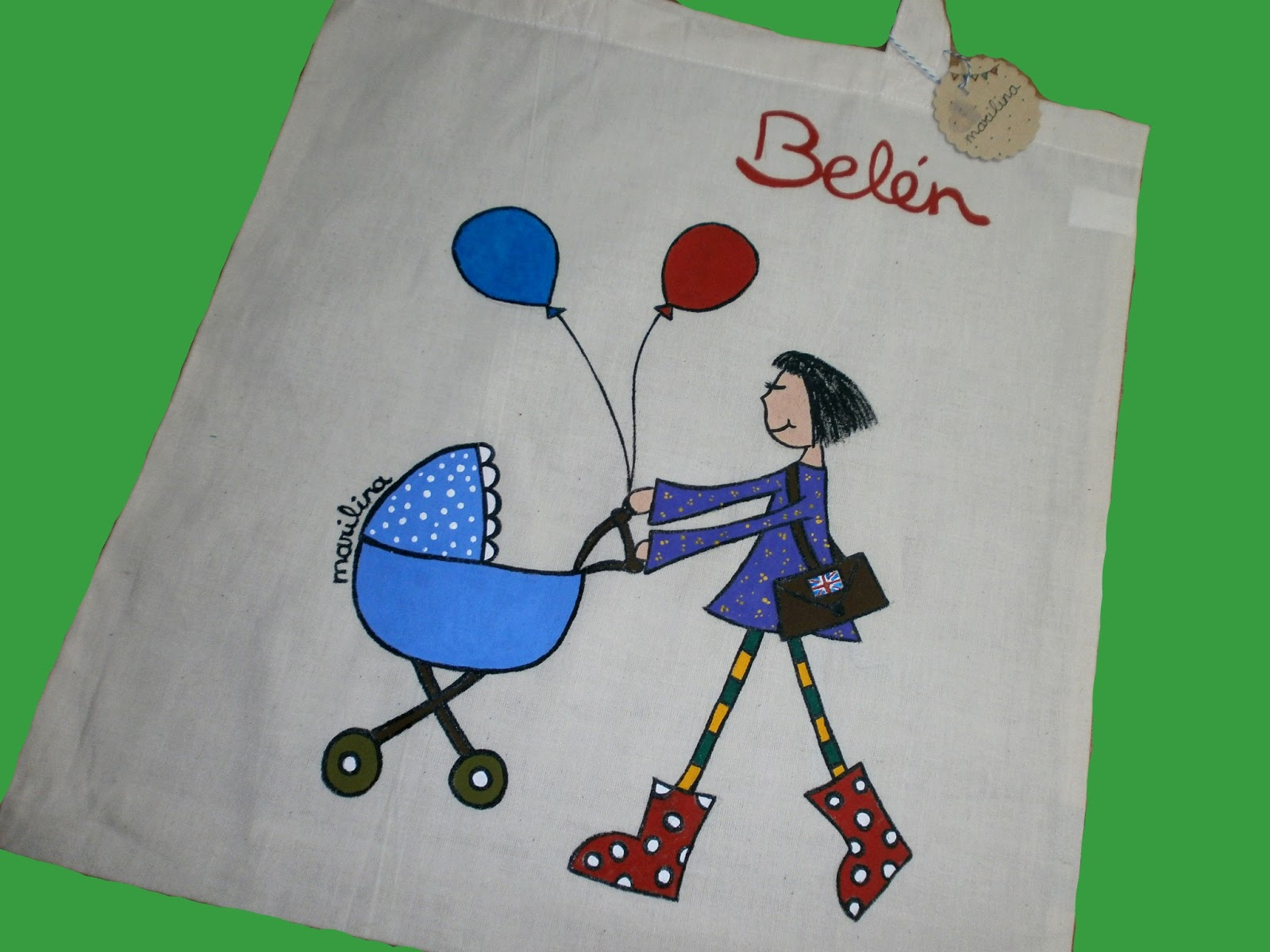 Marilina regalayreg late bolsa de tela pintada a mano - Delantal masterchef personalizado ...