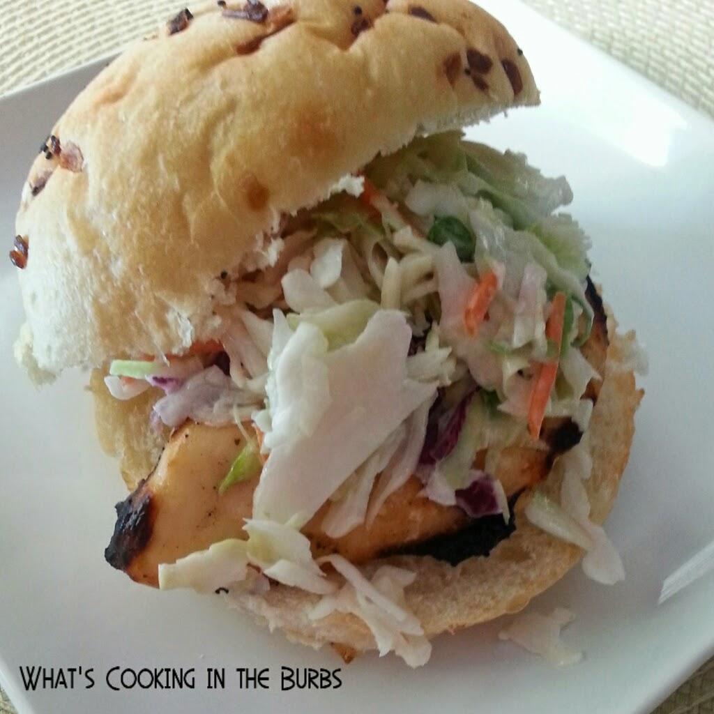 caribbean jerk chicken sandwiches with citrus slaw