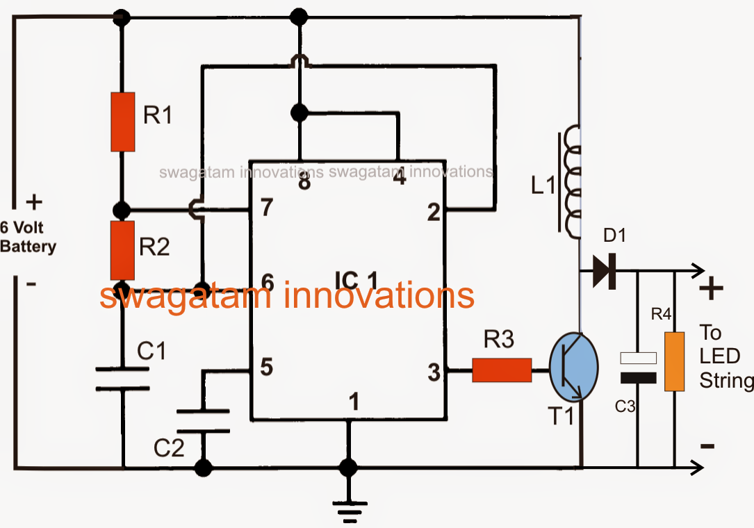 6V to 12V Boost LED Emergency Light Circuit
