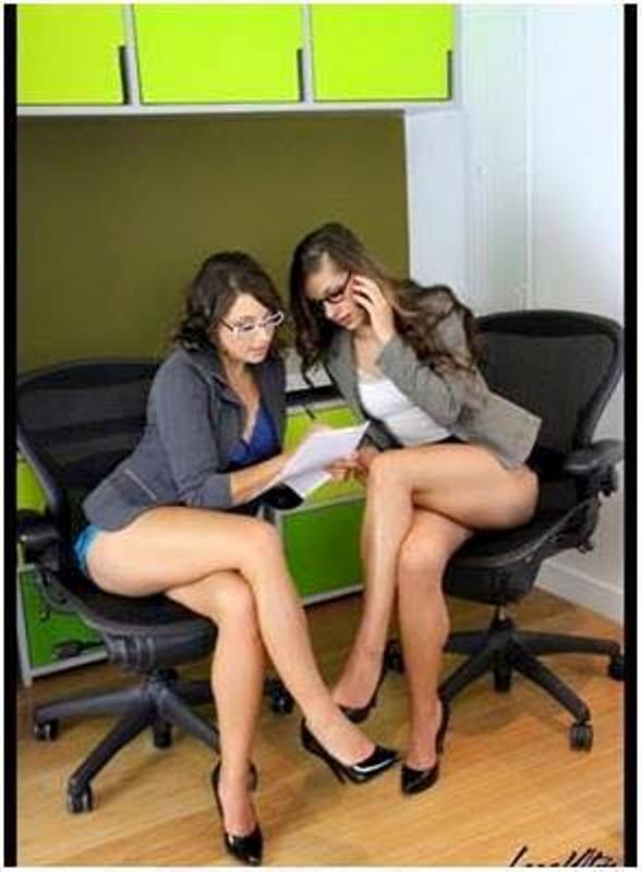 bad office attire 2 women half naked