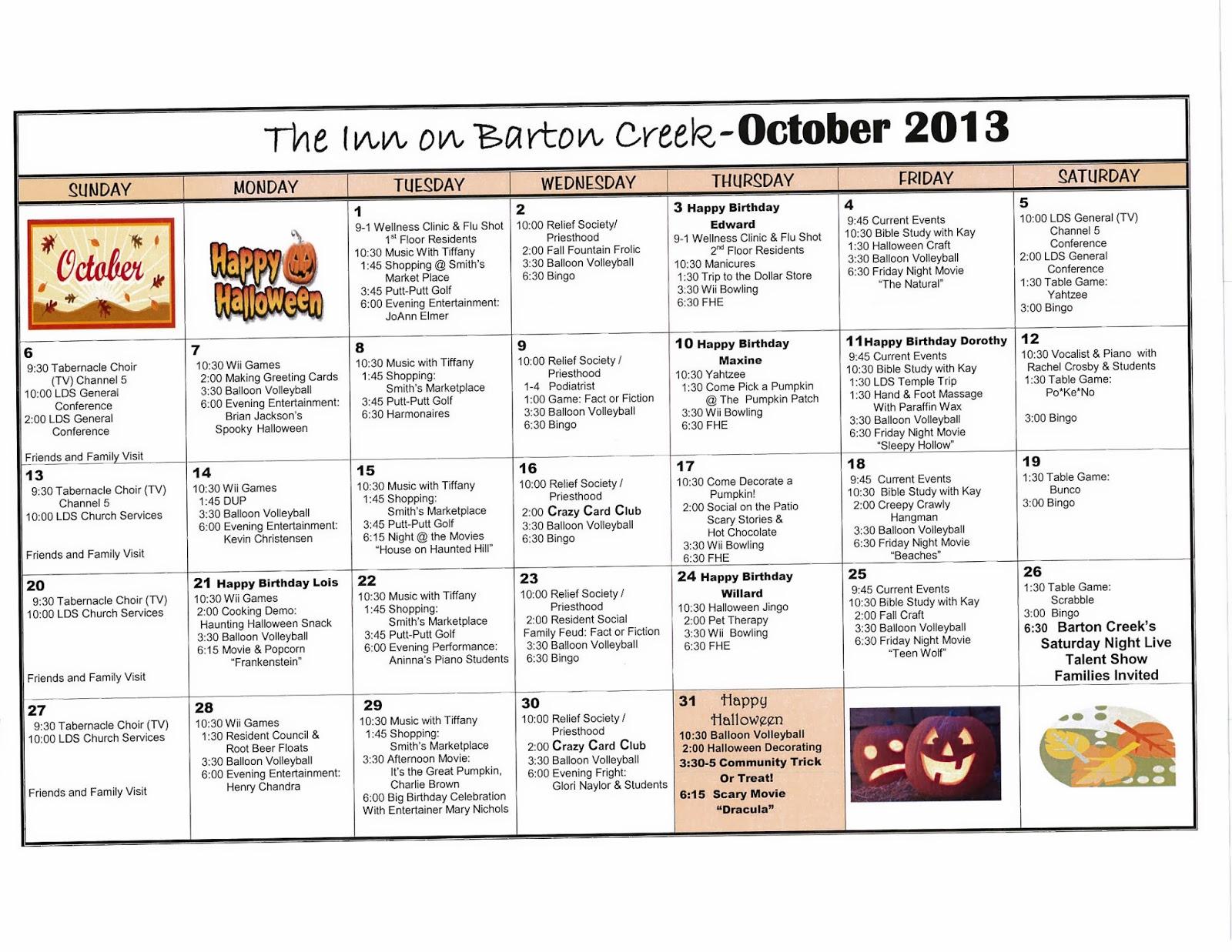 Calendar Ideas For Nursing Homes : Barton creek assisted living october activities calendar