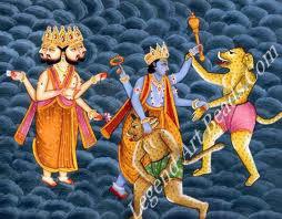 Madhusudana-Kaithabjit: Vishnu defending Brahma from the demons Madhu and Kaitabha.
