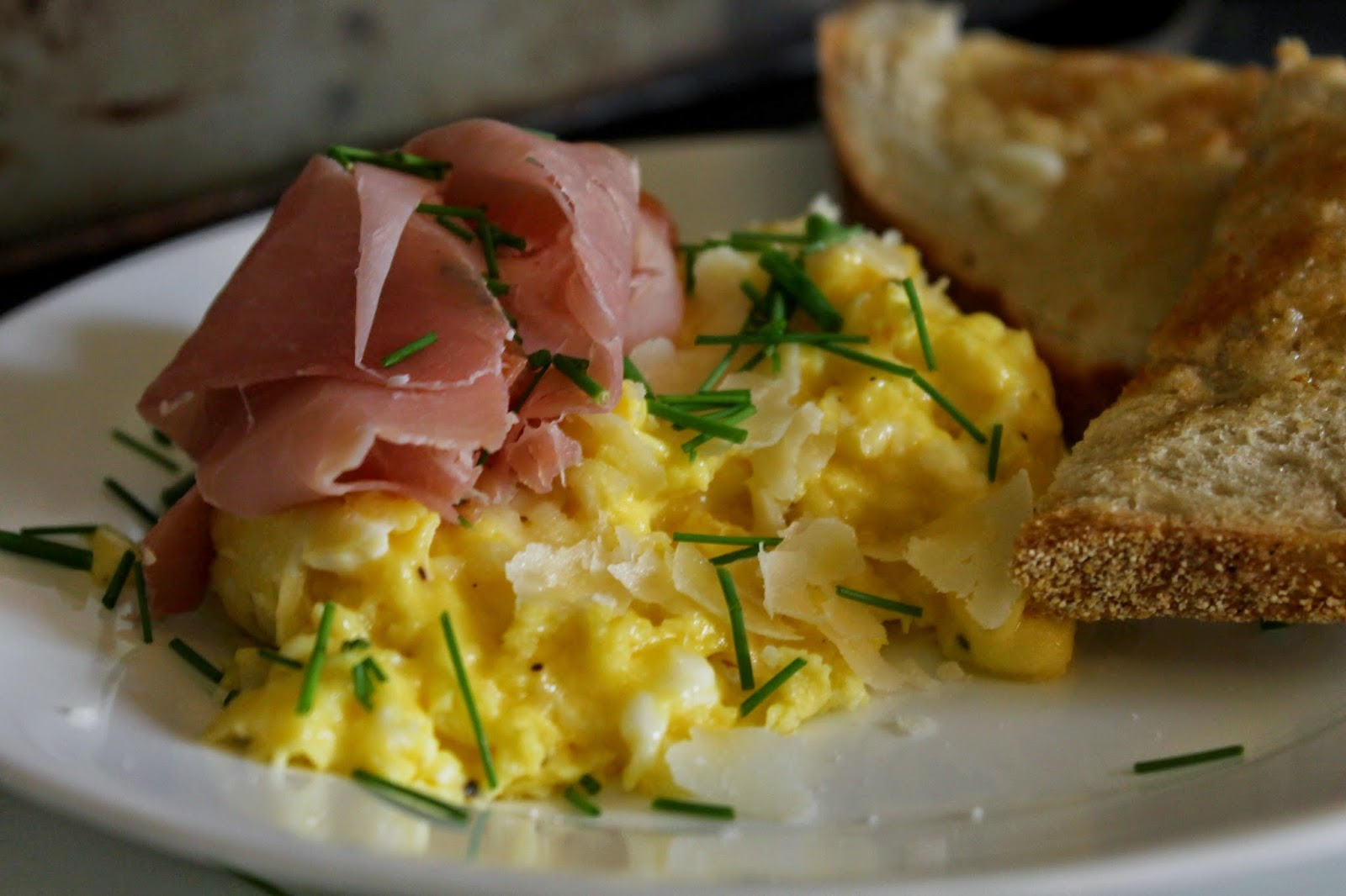 CREAMY SCRAMBLED EGGS WITH PROSCIUTTO, PARMESAN, & CHIVES ~ The Simple ...