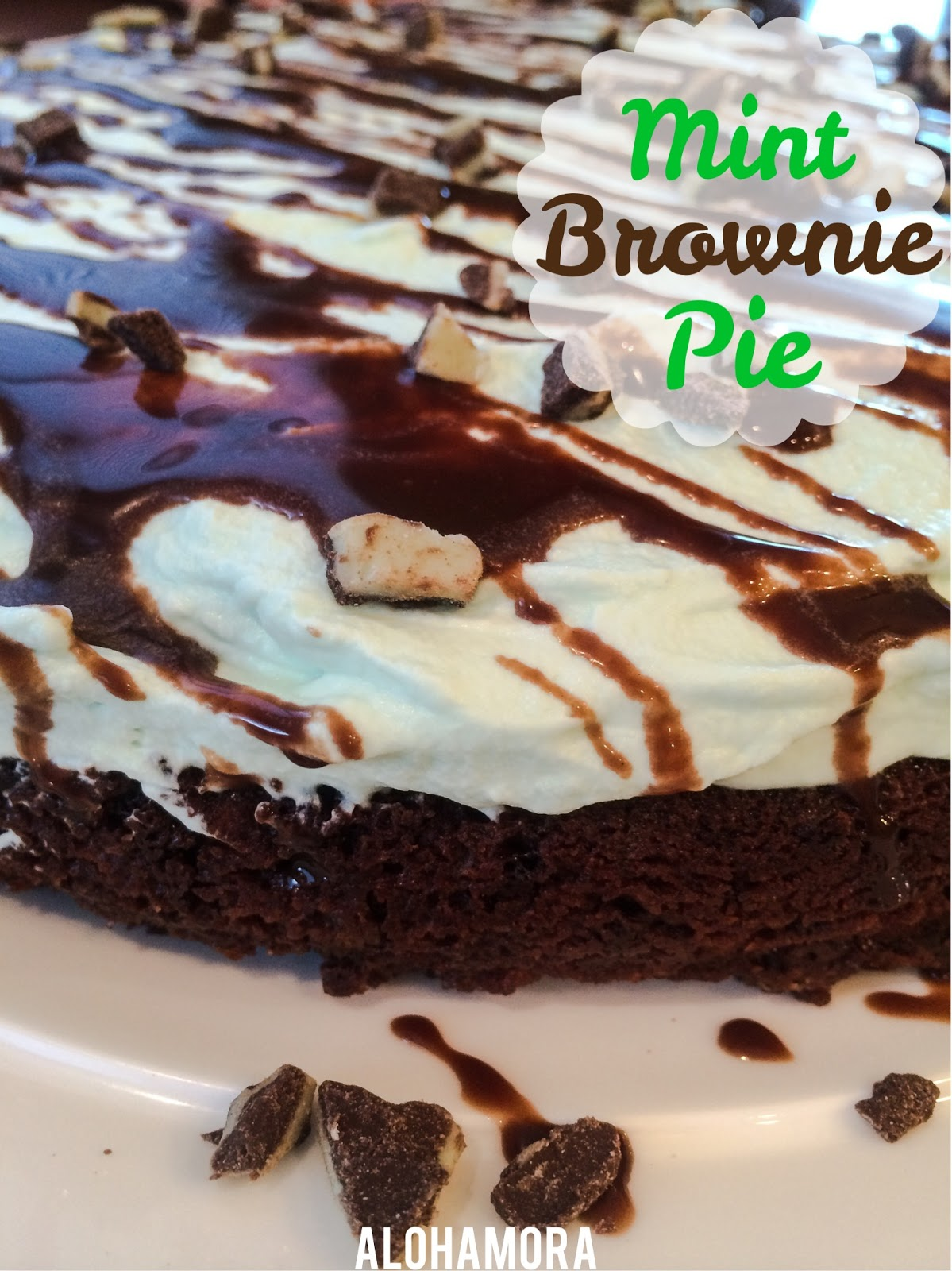 Mint Brownie Pie.  Absolutely delicious mint chocolate dessert recipe that's easy to make using a brownie mix.  A mint chocolate ganache tops the green mint whipped cream.  A festive and tasty St. Patrick's Day treat. Yummy! Alohamora Open a Book http://www.alohamoraopenabook.blogspot.com/