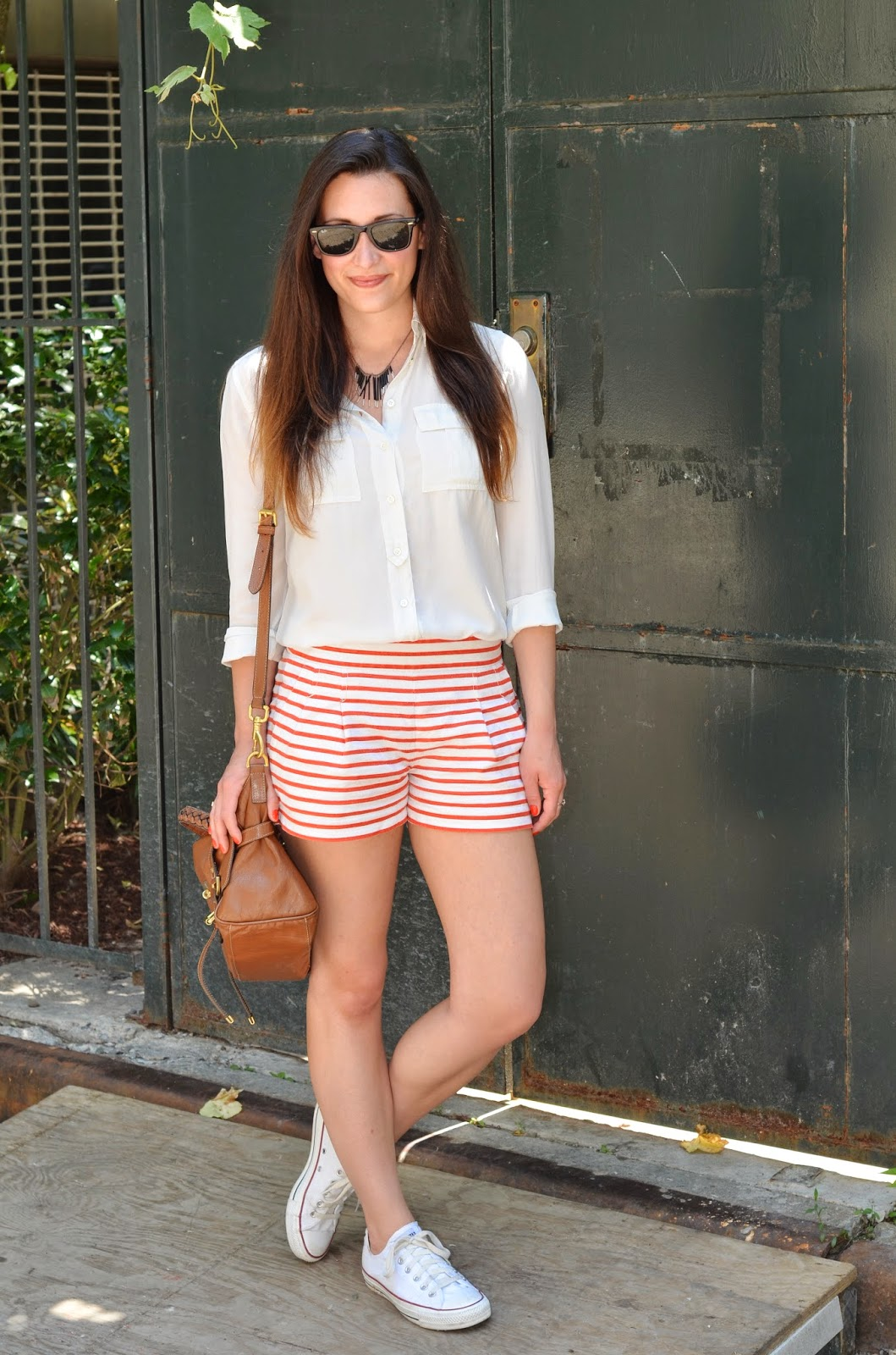 white silk top + red and white striped shorts