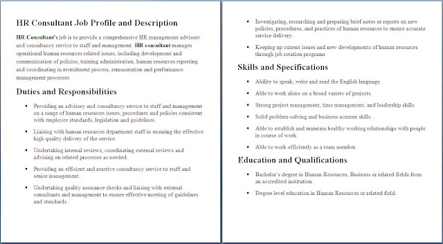 Human Resources Job Description | Sample Job Description