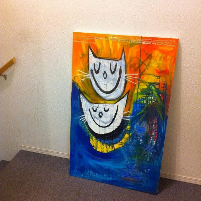 Mixed Media Happy Cats by Will Hoffman