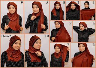 `Gambar Tutorial Cara Memakai Jilbab Pashmina Tumpuk Model Baru