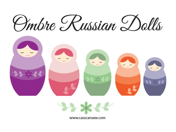 Free Printable - Ombre Russian Dolls Applique Sewing Template Pattern