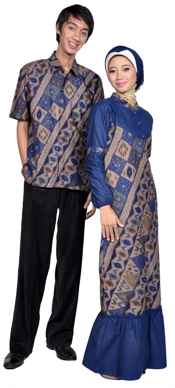 Queena Butik Gamis Batik Sarimbit 012 Biru
