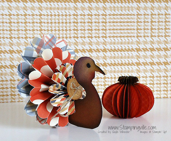 3-D Paper Turkey and Pumpkin