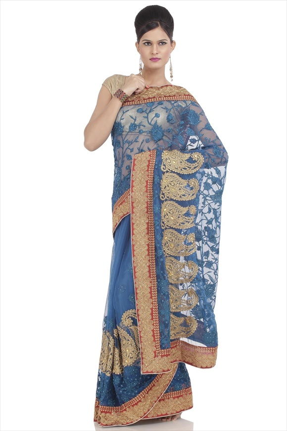 Victoria Blue Net Saree