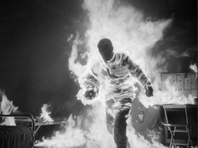The alien set on fire in The Thing From Another World