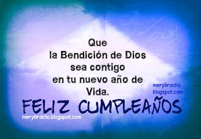Feliz Cumpleaños. con  la Bendición de Dios. Imágenes cristianas para felicitar cumpleaños con mensajes cristianos.