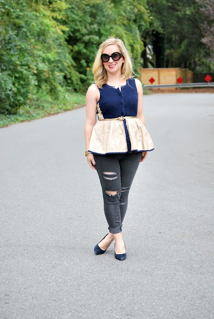 how to wear peplum, anthropologie, fall layers