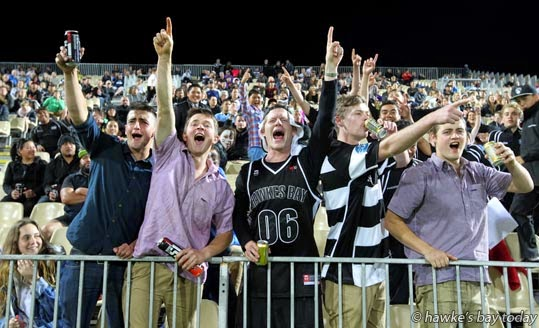 The crowd celebrates Richard Buckman's try at the Hawke's Bay Magpies vs Northland rugby game at McLean Park, Napier photograph