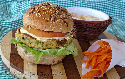 vegburger con chips di carote