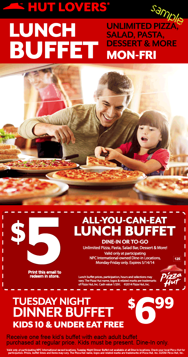 Aug 05,  · Pizza Hut Coupon – 5 Lunch Buffet All-you-can-eat lunch buffet for only $5. Unlimited pizza, pasta, salad bar, bread sticks, cinnamon sticks and more fast lunch options. Valid at participating NPC International-owned dine-in locations only. 2 Pizzas for $16 At Pizza Hut Print coupon for a large 3 topping or Specialty pizza and a medium 1 topping pizza for $/5(16).