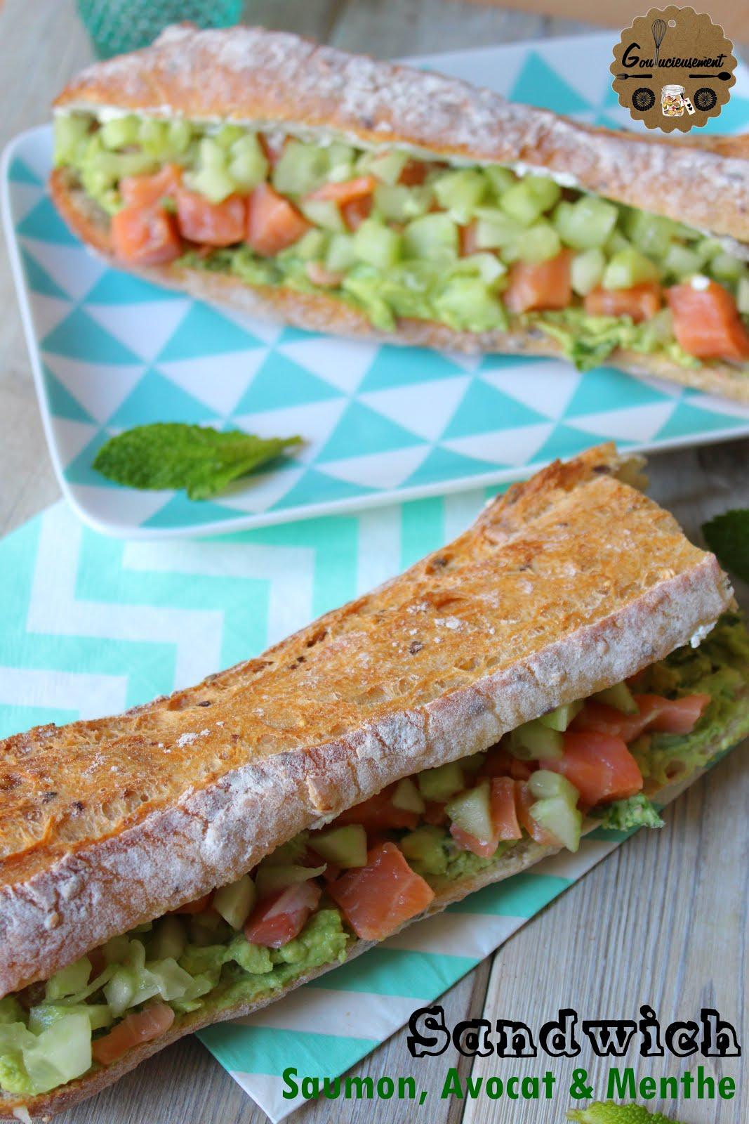 goulucieusement sandwich saumon avocat concombre et menthe. Black Bedroom Furniture Sets. Home Design Ideas