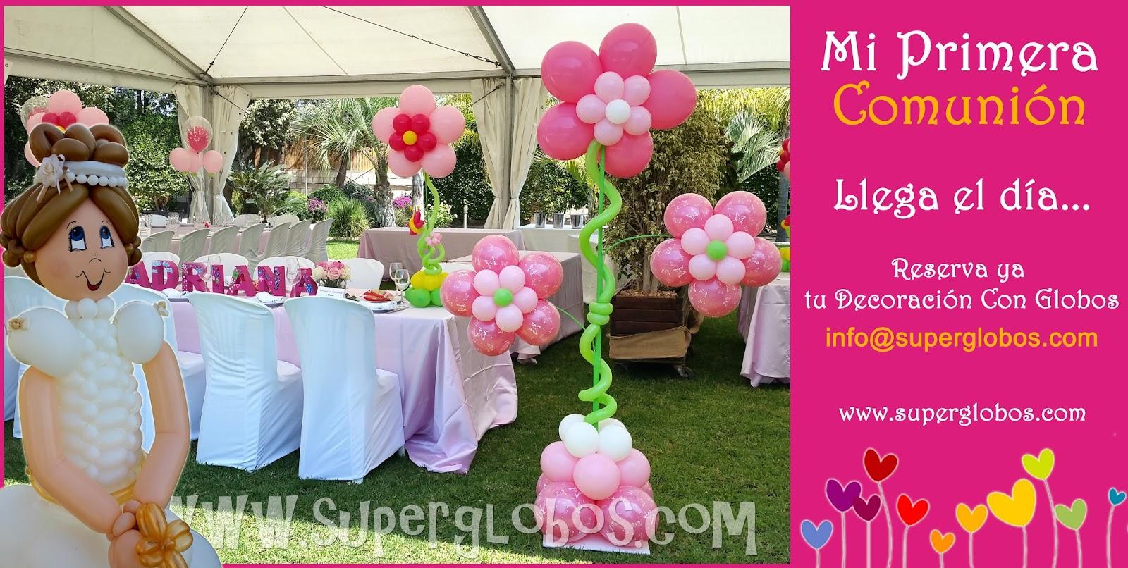 decoracin con globos comuniones