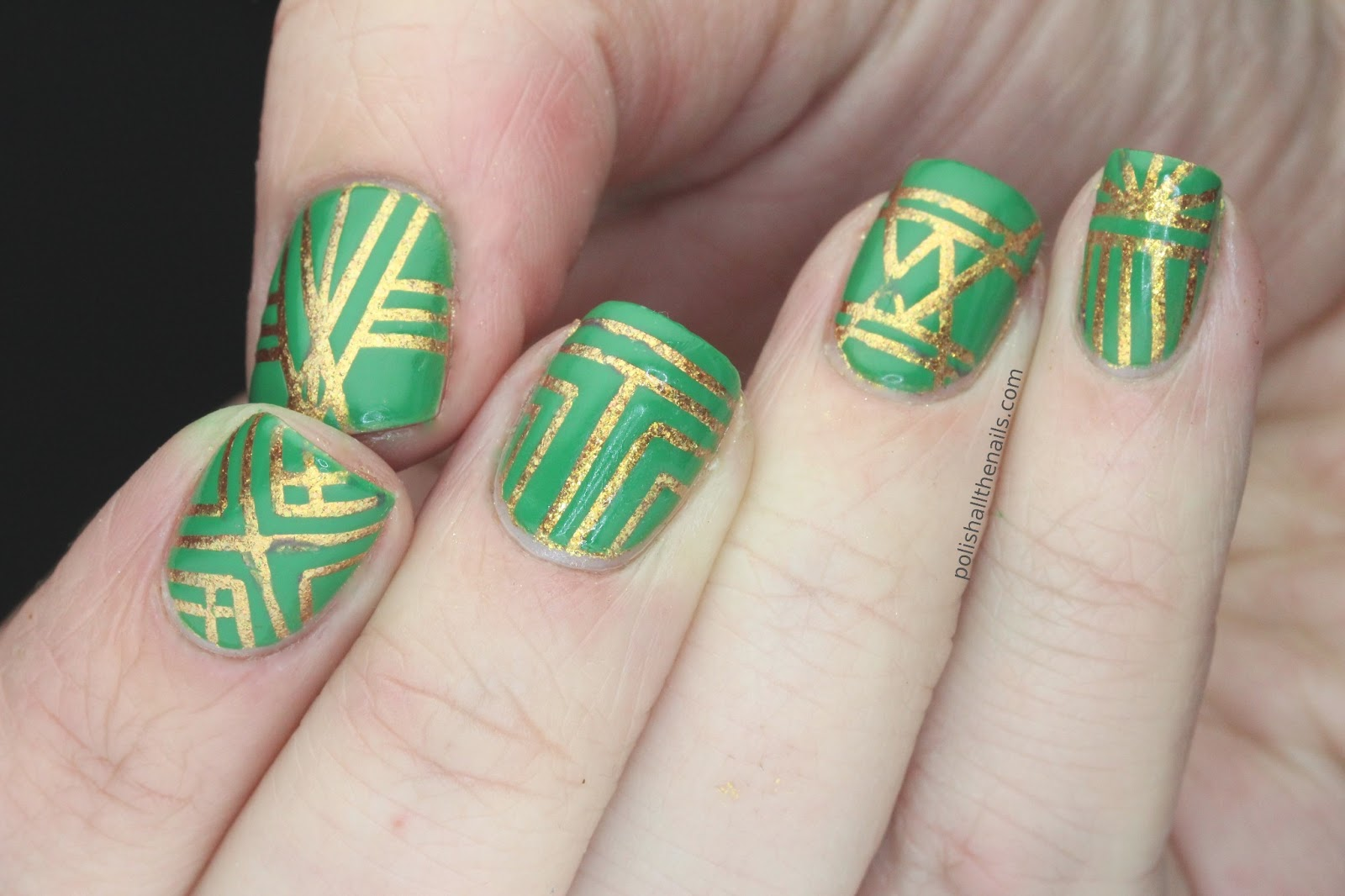 Nail Art Green And Gold Art Deco Nails