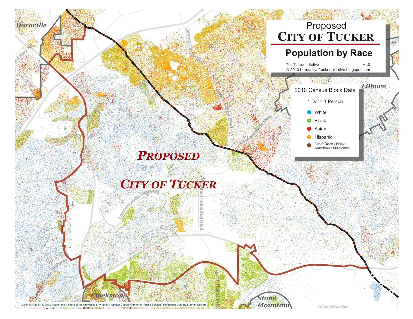 the proposed city of tucker population by race