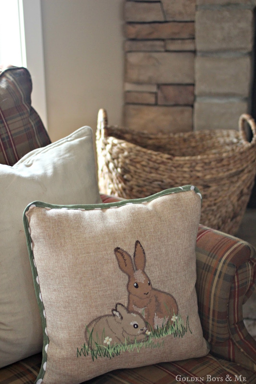 Bunny rabbit throw pillow-www.goldenboysandme.com