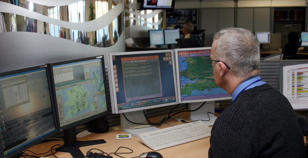 Forecaster at work in the Met Office Ops Centre in Exeter. Credit: Met Office