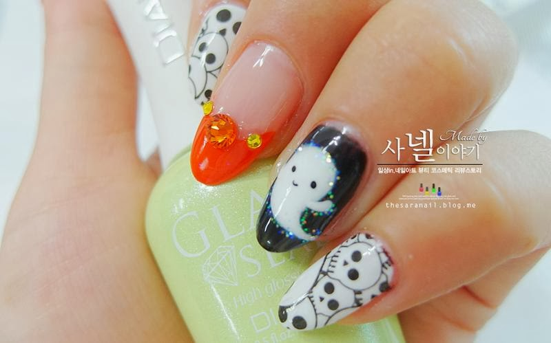 Sara Nail Easy Halloween Nail Art Casper Nail Tutorial