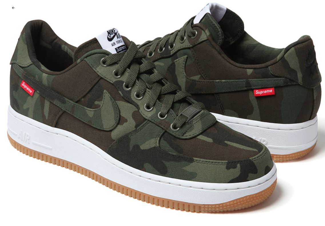 the sneaker addict supreme x nike air force 1 camo. Black Bedroom Furniture Sets. Home Design Ideas