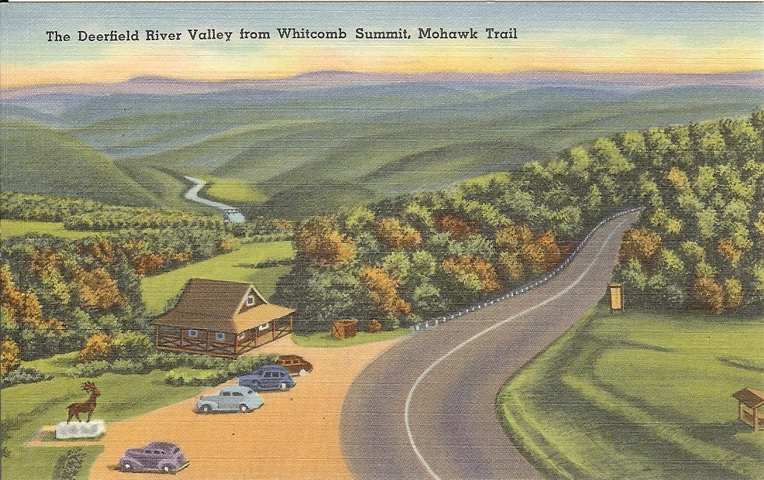 Whitcomb Summit, Mohawk Trail, postcard, antique, elks, deerfield river, valley