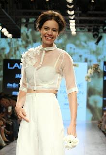 Kalki Koechlin White Transparent Net Top White Trousers walks Ramp for Nishka Lulla at Lakme Fashion Week 2015