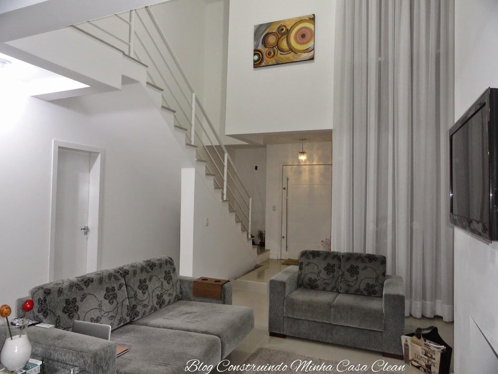 Construindo Minha Casa Clean Minha Sala De Estar Decorada Com Quadro  -> Parede De Pe Direito Duplo Sala