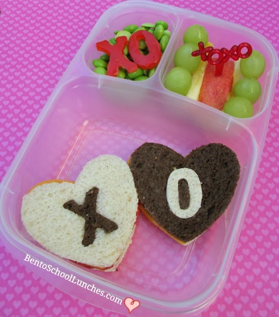 valentines lunch, hugs and kisses, bento school lunches