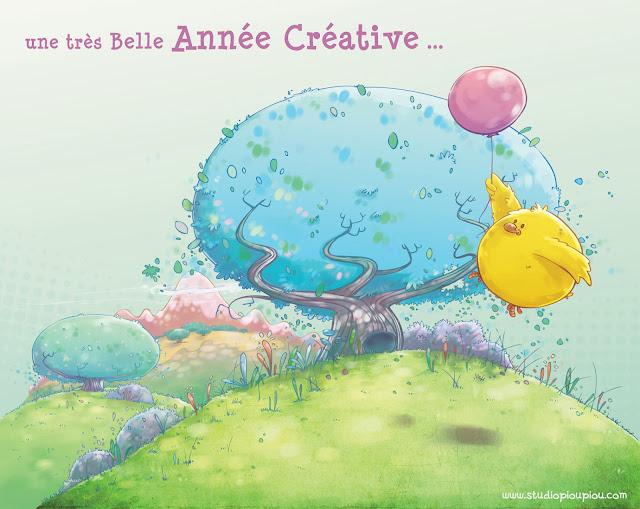 illustration dessin jeunesse enfant oiseau poussin piou piou ballon décor animé graphisme nature manga couleur arbre colline voeux carte événement événementiel vol volant oiseau montagne herbe