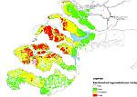 Figuur 4 kwetsbaarheid regenwaterlenzen huidige situatie. Bron: Zoetwater verhelderd: maatregelen voor zoetwater zelfvoorzienendheid in beeld, pag. 12