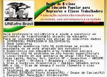 Visite a UNEafro - Seja professor/a solidário/a