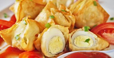 Resep dan cara membuat Pangsit Telur