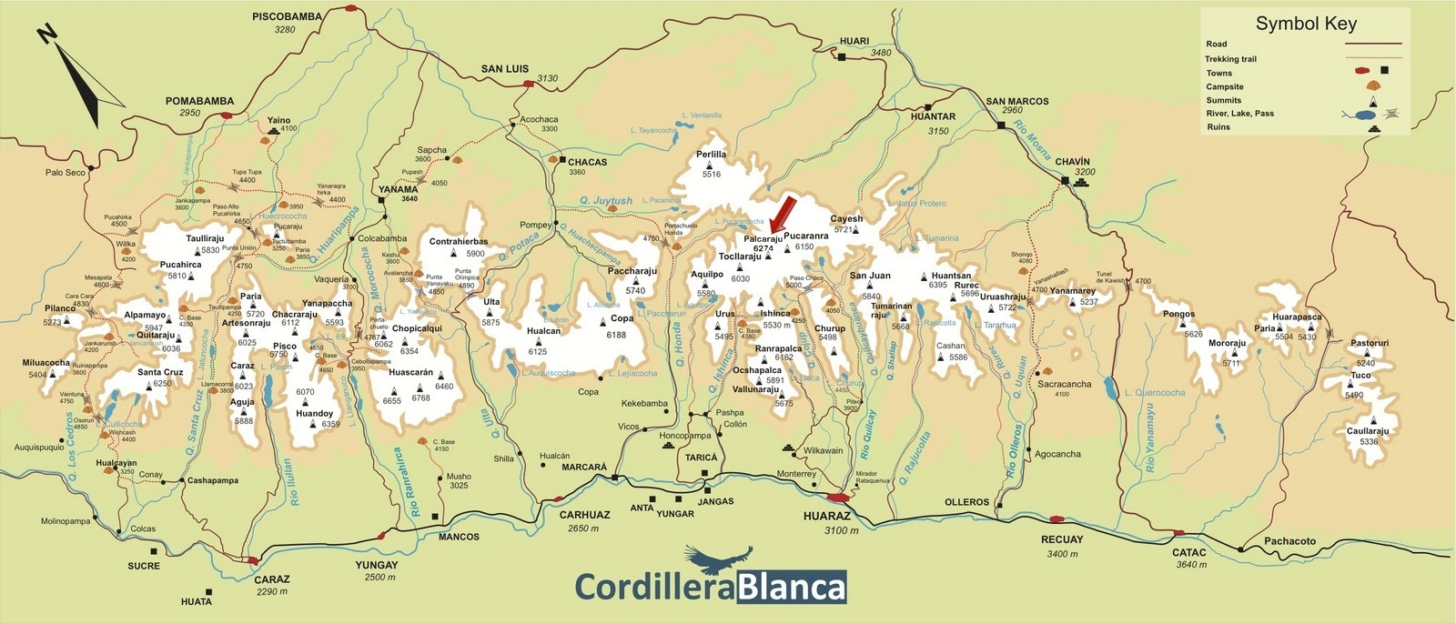 map of the cordillera blanca which is centered in the department of ancash peru click on map to enlarge