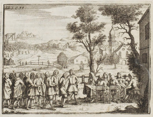 engraving rural court scene