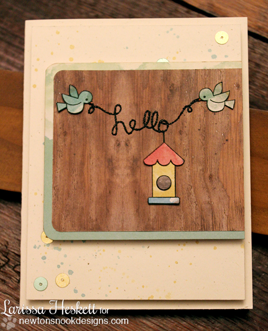 Hello Birdie Card by Larissa Heskett using Winged Wishes and Tweet Talk stamps by Newton's Nook Designs