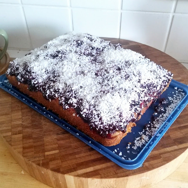 The finished cake! Jamie Oliver's - Jammy Coconut Sponge