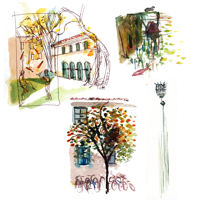 "Shiho Nakaza ""Los Angeles"" Pasadena watercolor sketching sketch college campus"