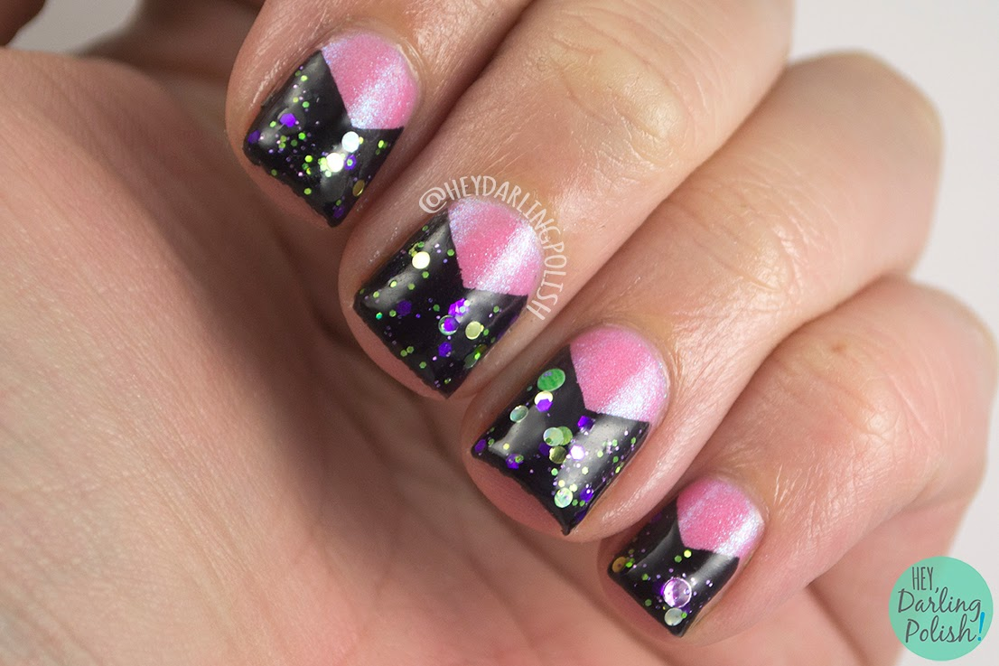 nails, nail art, nail polish, pink, green, purple, indie polish, hey darling polish, tri polish challenge, triangle, glitter