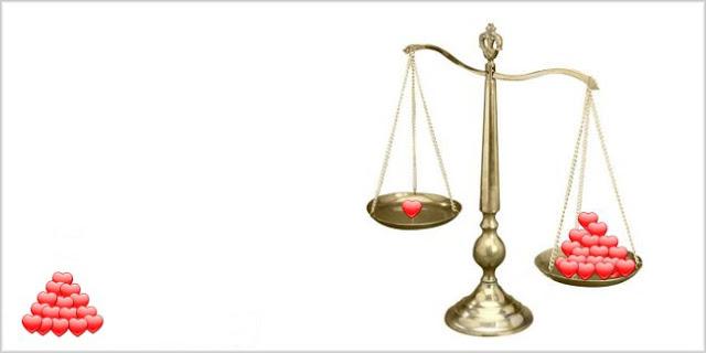 O desequilíbrio no amor a balança do amor