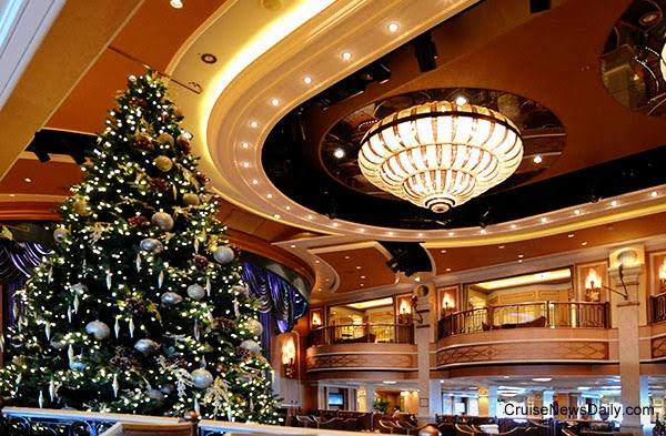 the decorations extend into the queens room as well as many other places on the ship - Queen Christmas Decorations