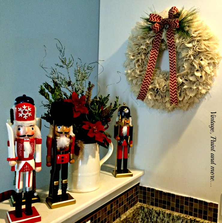Vintage, Paint and more... vintage nutcrackers, ironstone pitcher, diy burlap wreath used in Christmas decor of a kitchen