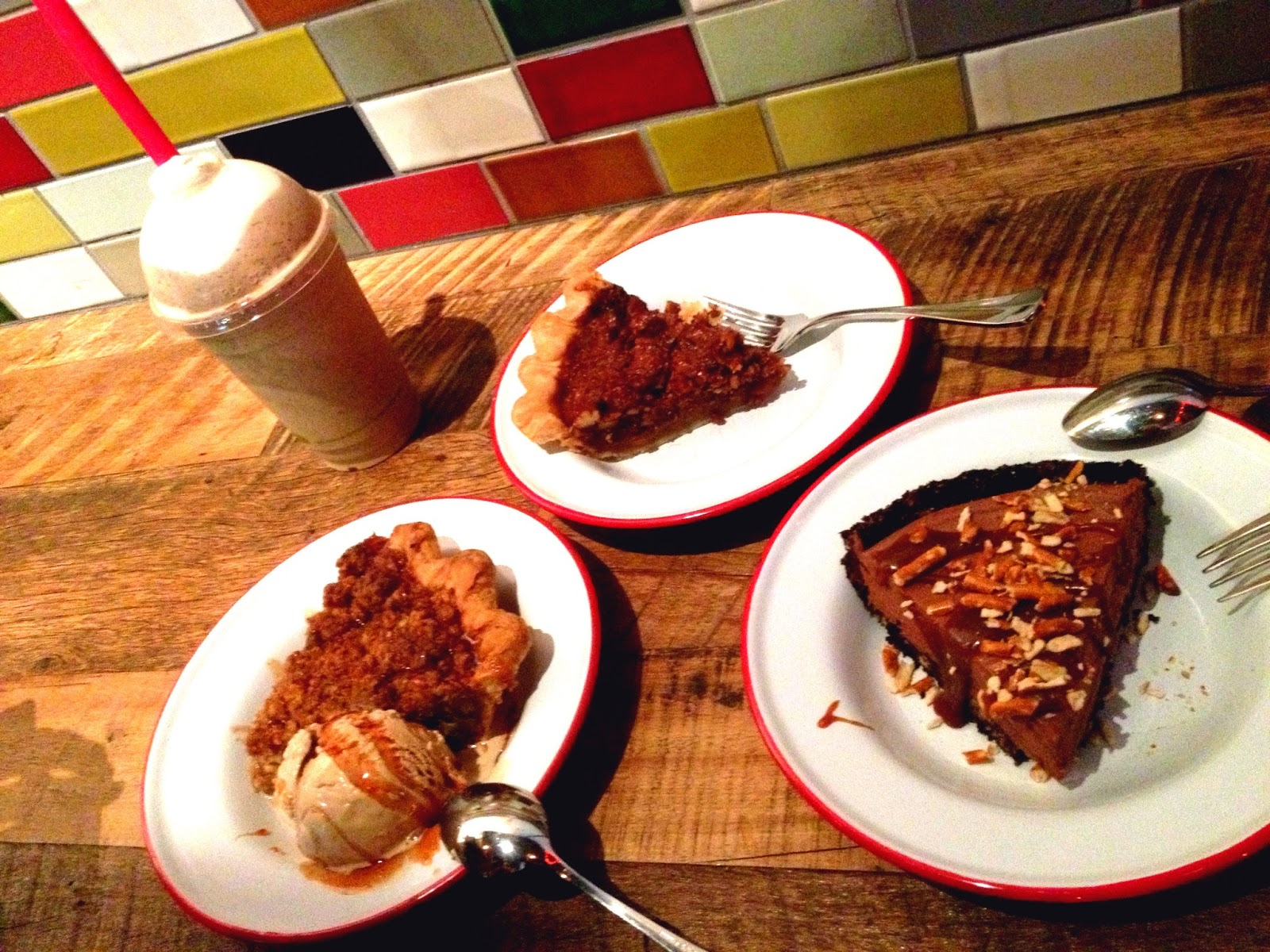 The pie shake & 3 pie slices